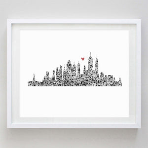 New York Skyline Floral Watercolor Print