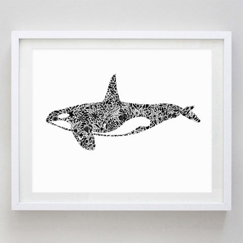 art print - orca floral watercolor print - carly rae studio