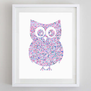 Owl Floral Watercolor Art Print - Chi Omega