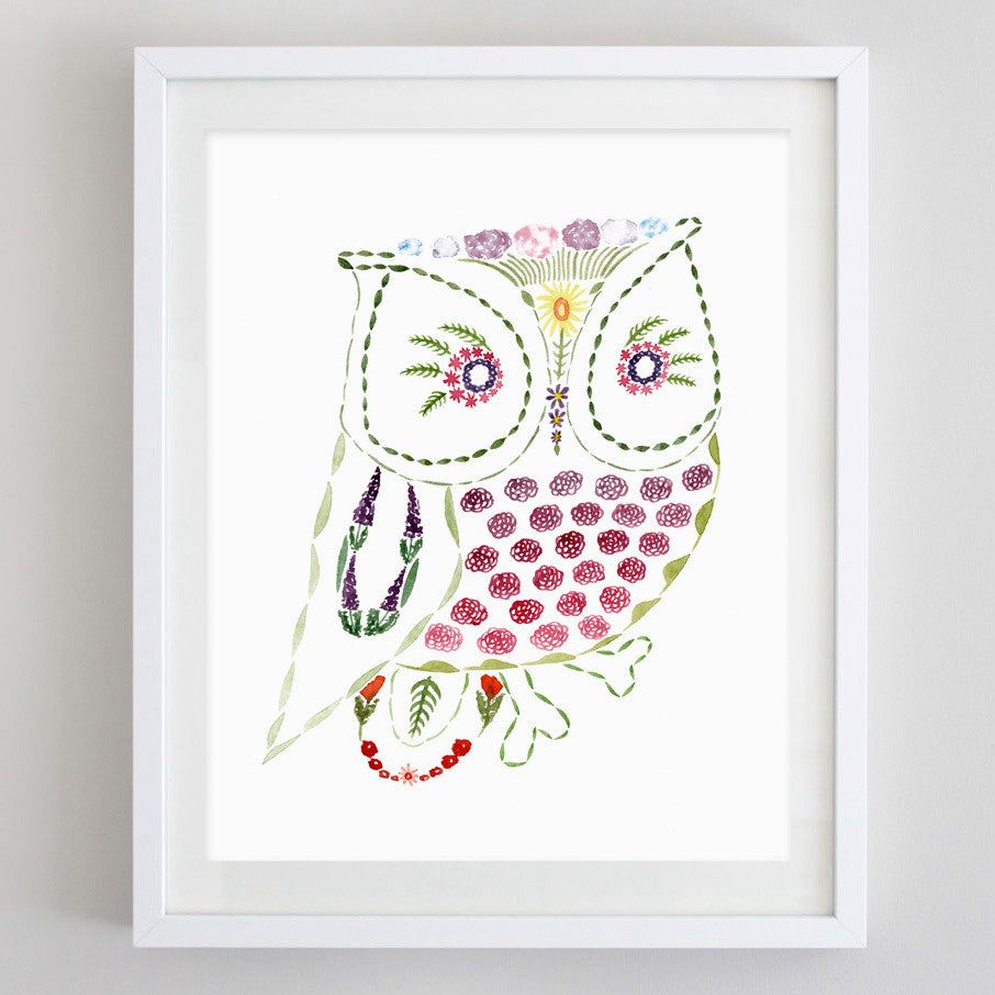 art print - owl floral watercolor print - carly rae studio