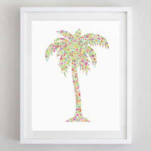 art print - palm tree floral watercolor print - carly rae studio