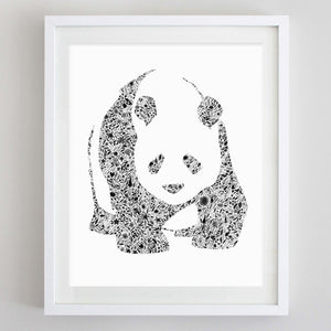 art print - panda floral watercolor print - carly rae studio