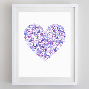 Peace & Love Watercolor Print