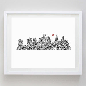 Philadelphia Skyline Floral Watercolor Print