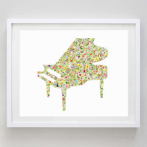 Piano Floral Watercolor Print