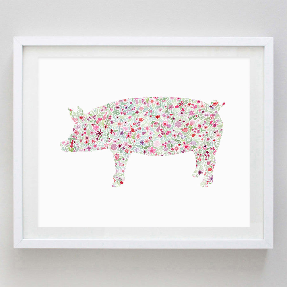 Pig Floral Watercolor Print