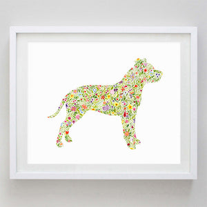 art print - pitbull floral watercolor print - carly rae studio