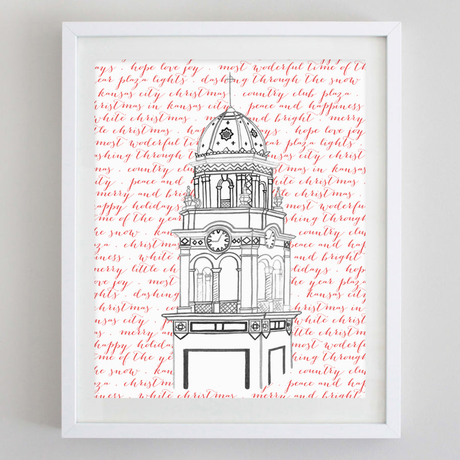Plaza Clock Tower Holiday Watercolor Print