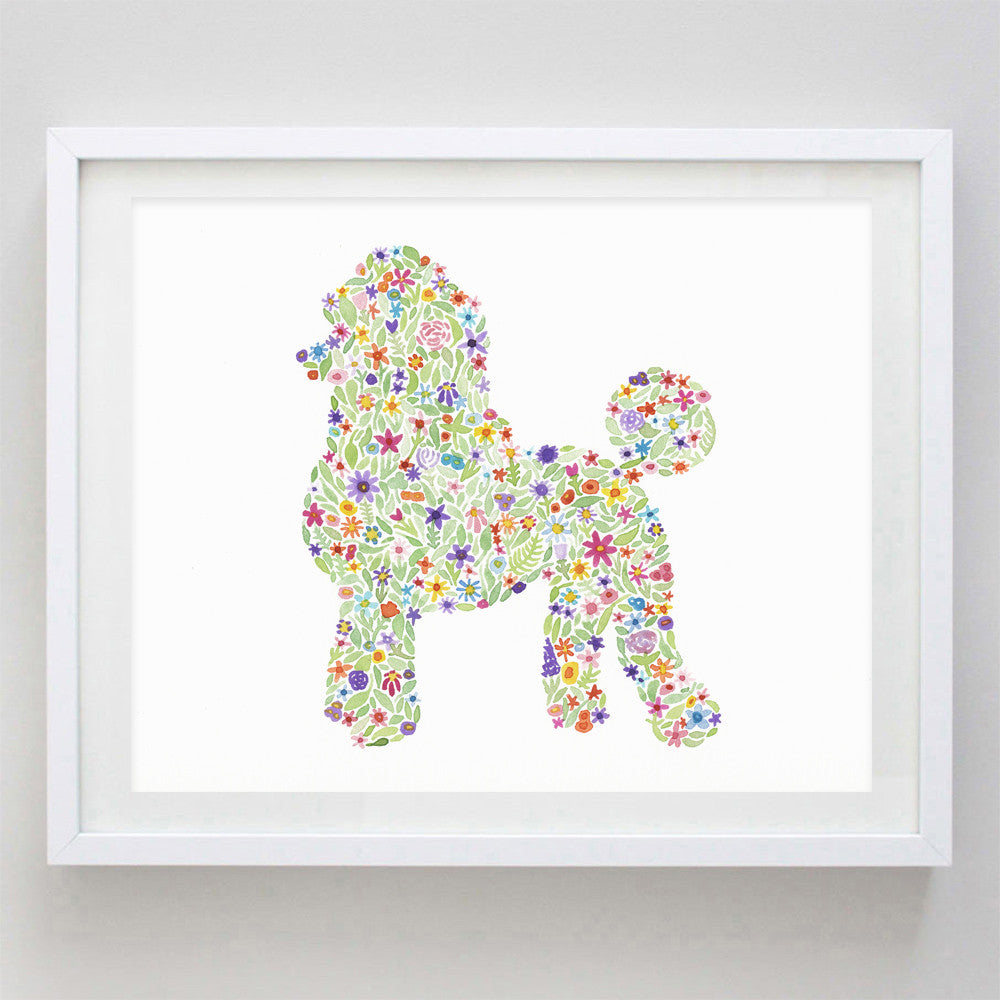 art print - poodle floral watercolor print - carly rae studio