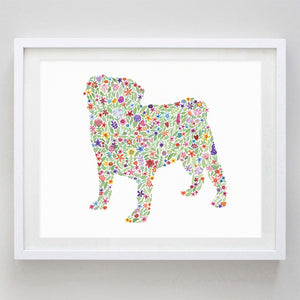 art print - pug floral watercolor print - carly rae studio