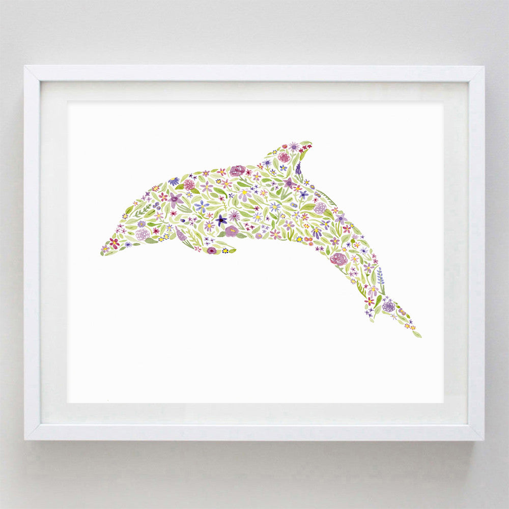 art print - purple dolphin floral watercolor print - carly rae studio