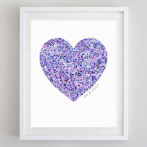Class of 2021 Custom Colors Heart Floral Watercolor Print