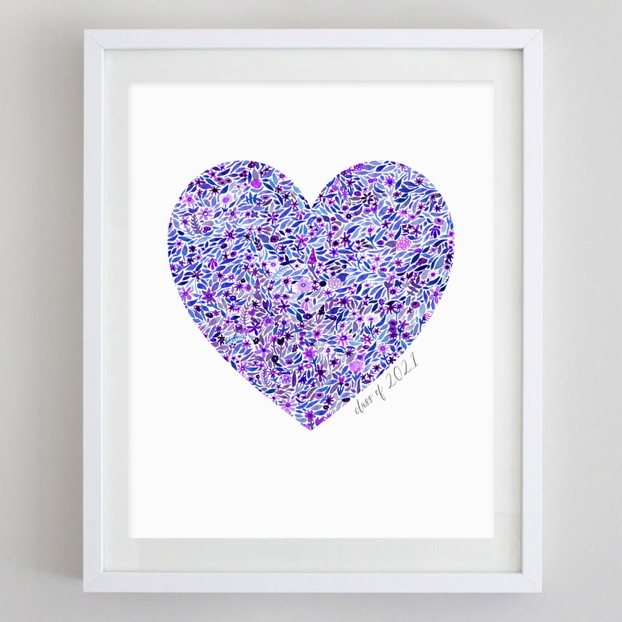 Class of 2021 Purple Heart Floral Watercolor Print