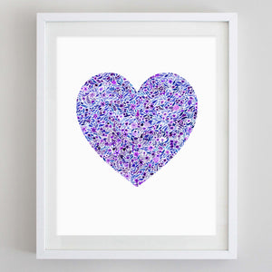 Purple Heart Floral Watercolor Print