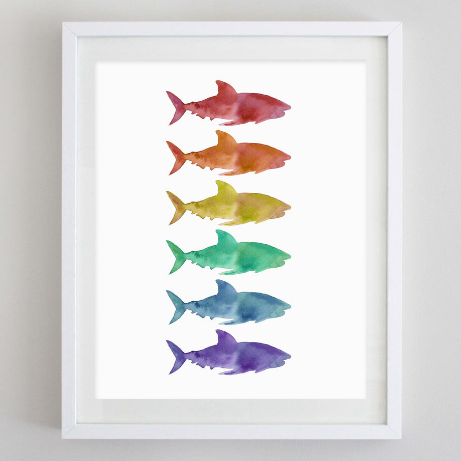Rainbow Shark Watercolor Print