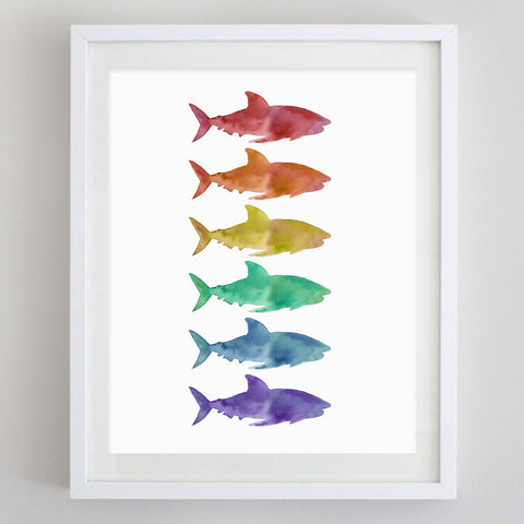 Rainbow Sharks Watercolor Print