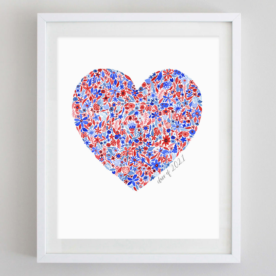 Class of 2021 Red and Blue Heart Floral Watercolor Print