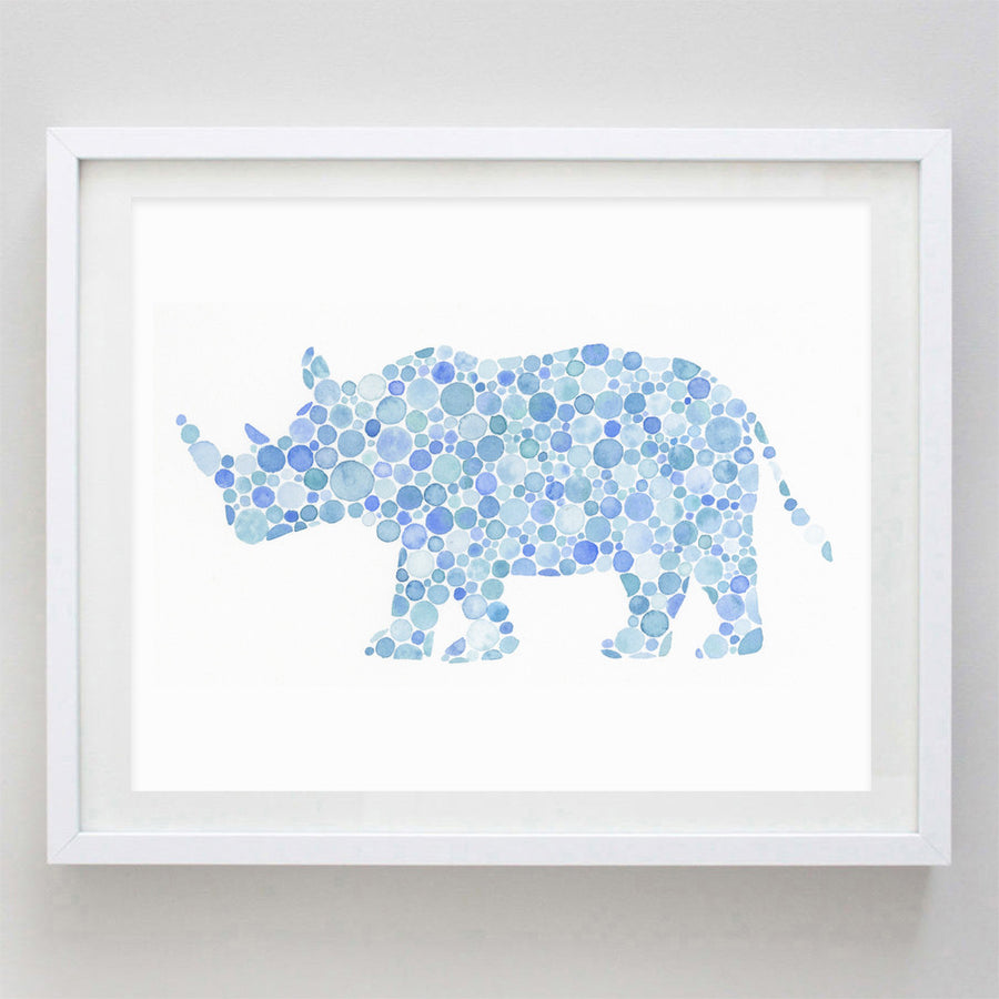 art print - blue rhino watercolor print - carly rae studio