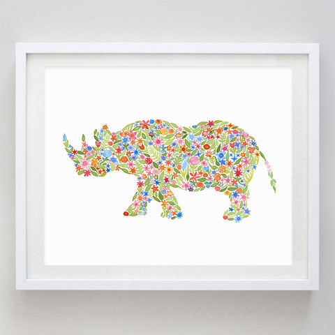 Sudan the Rhino Floral Watercolor Print - Proceeds go to The International Rhino Foundation