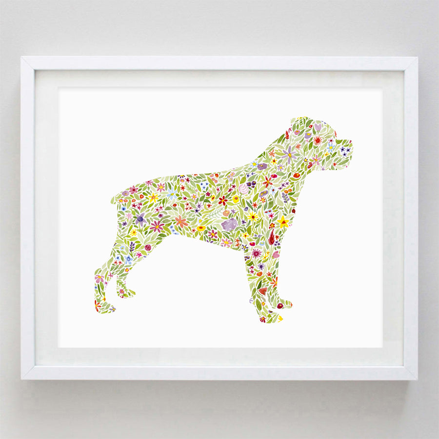 Rottweiler Floral Watercolor Print