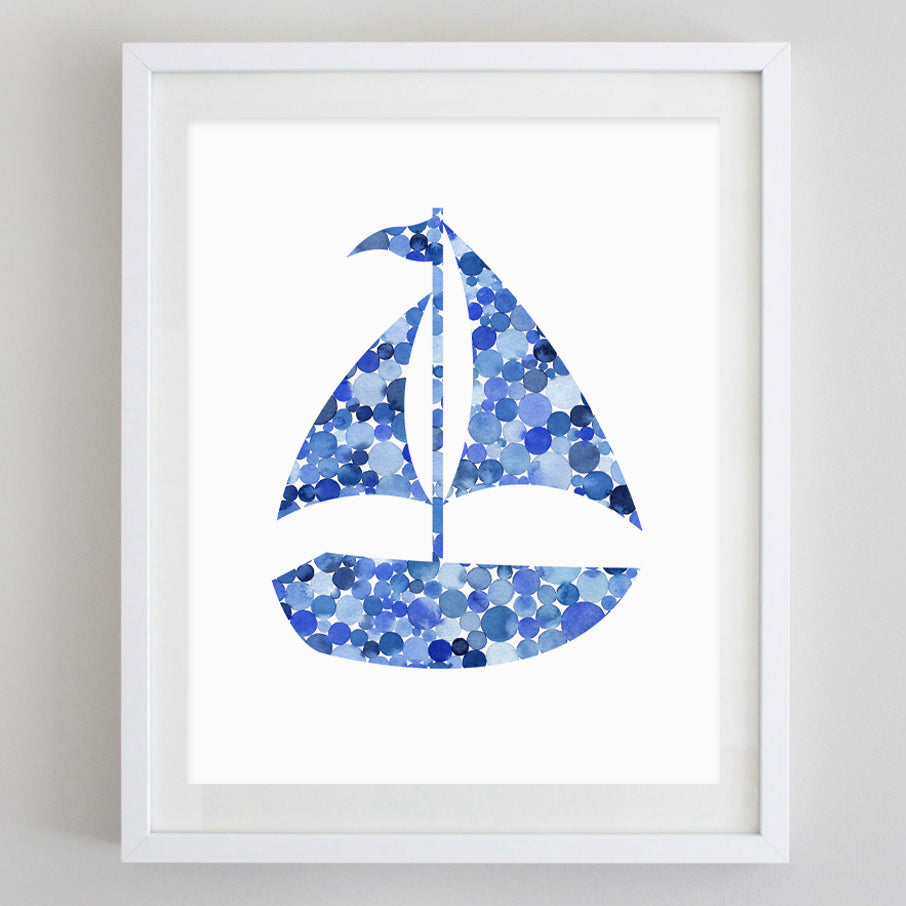 Blue Sailboat Watercolor Print