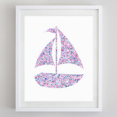Sailboat Floral Watercolor Art Print - Sigma Sigma Sigma