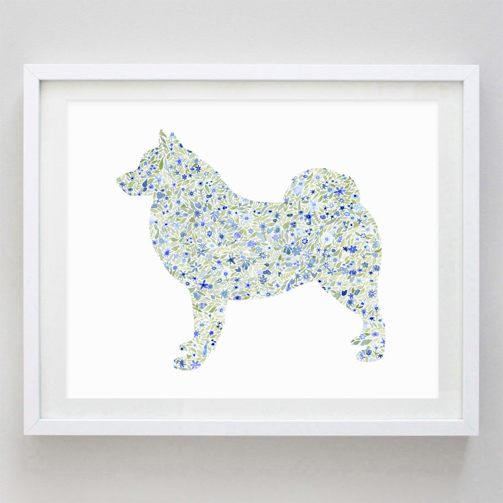 Samoyed Dog Floral Watercolor Print