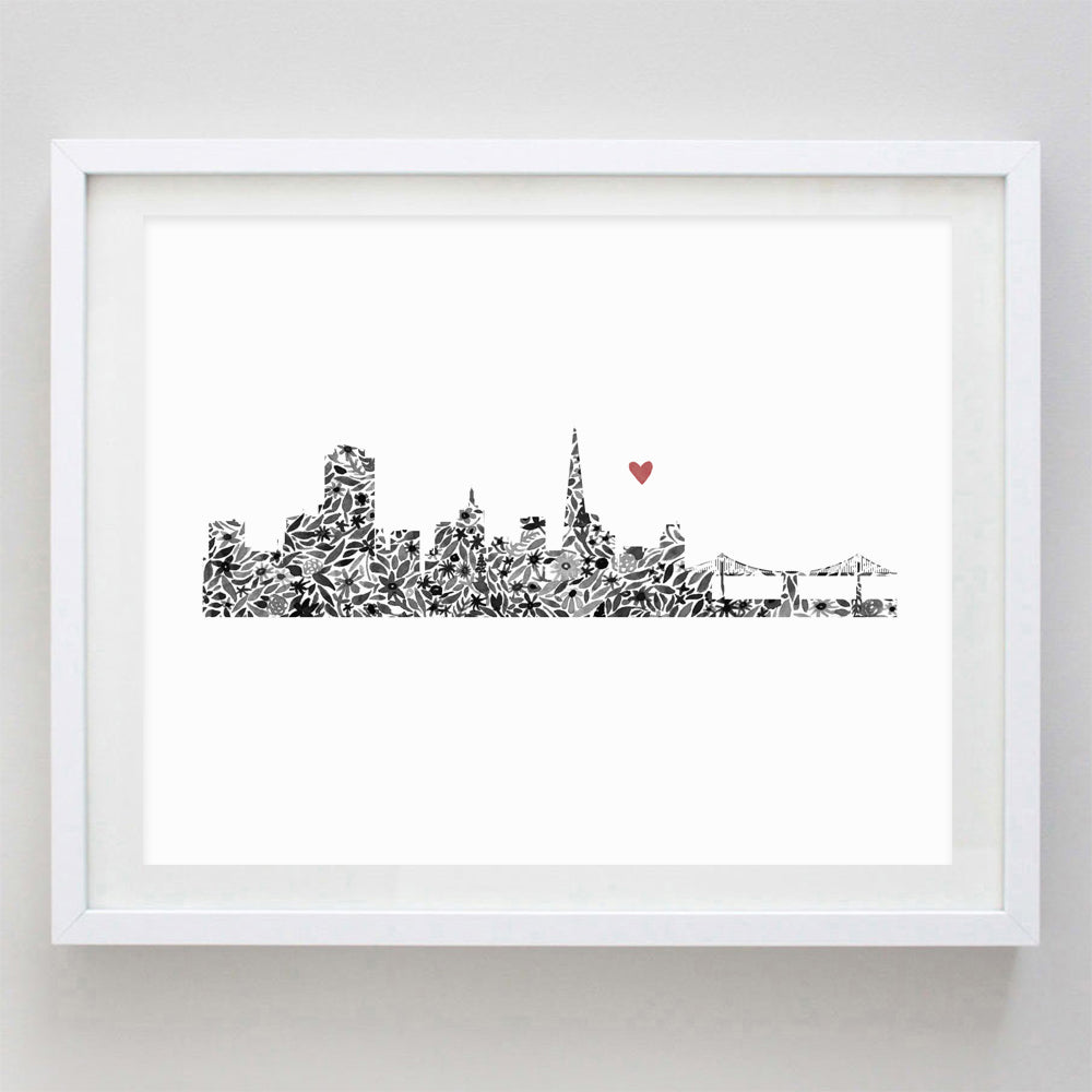 San Francisco Skyline Floral Watercolor Print