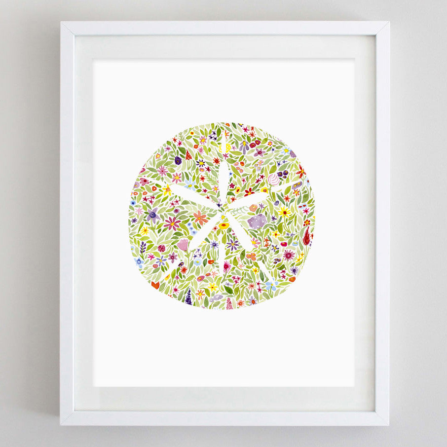 art print - sand dollar floral watercolor print - carly rae studio