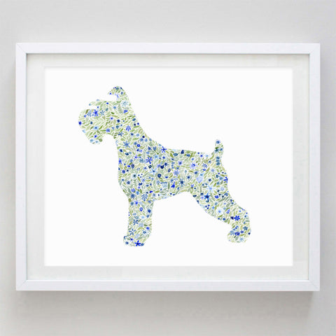 Schnauzer Floral Watercolor Print