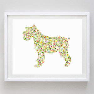 Terrier Floral Watercolor Print