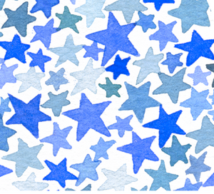 Monogram Stars Watercolor Print Blue