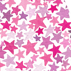 Monogram Stars Watercolor Print Pink