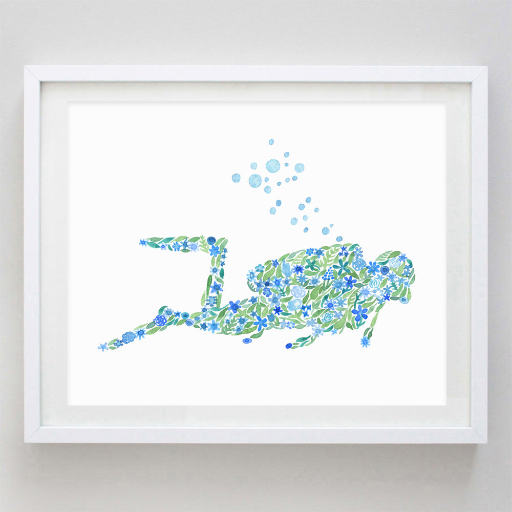 Scuba Diver Watercolor Print