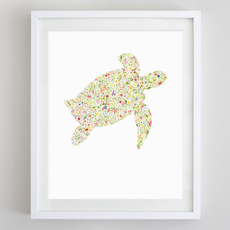 art print - sea turtle floral watercolor print - carly rae studio