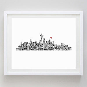 Seattle Skyline Floral Watercolor Print
