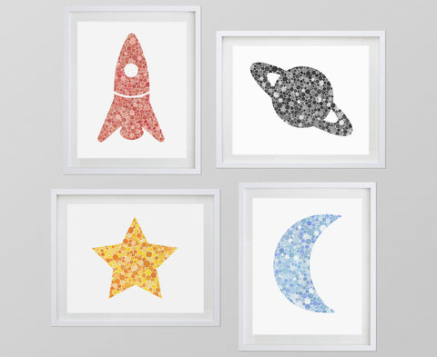 Set of 4 Outer Space Watercolor Art Prints