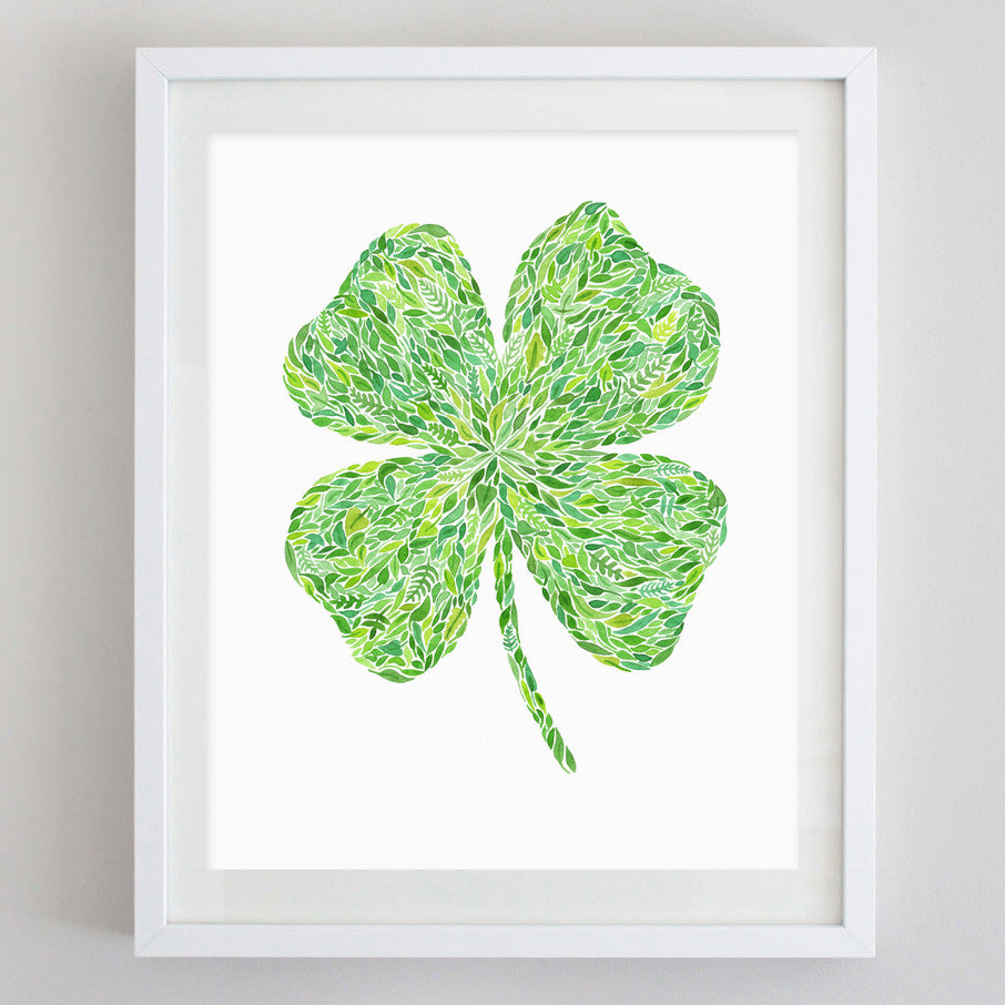 Shamrock Floral Watercolor Print