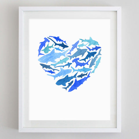 Shark Love Watercolor Print