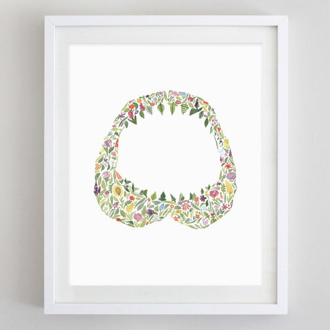 art print - shark jaw floral watercolor print - carly rae studio