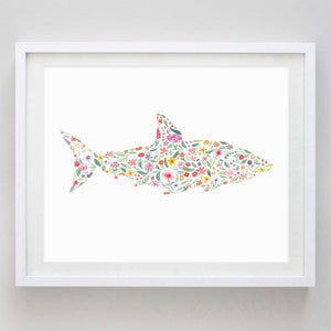 Blue Shark Floral Watercolor Print