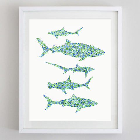 Sharks Floral Watercolor Print