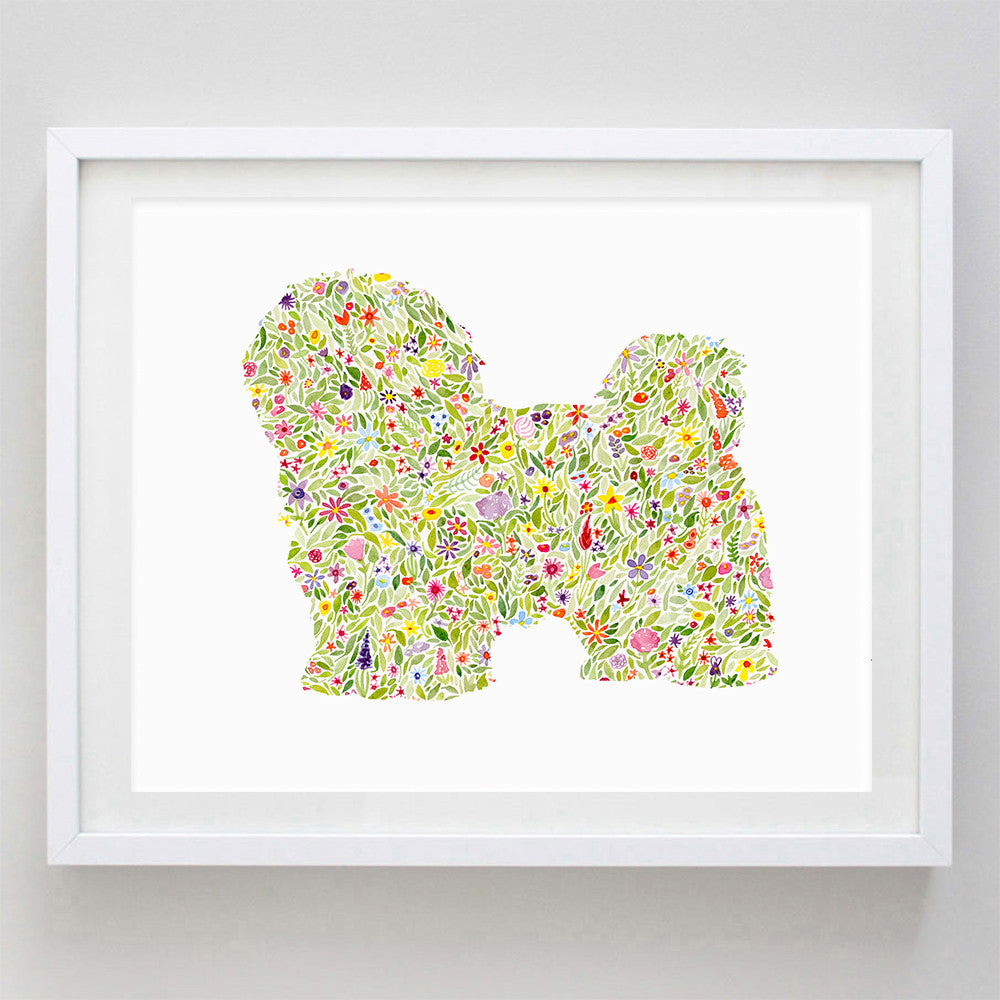 Shih Tzu Floral Watercolor Print