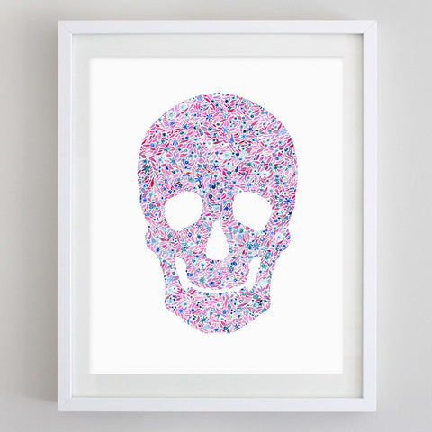 Skull Floral Watercolor Art Print - Chi Omega
