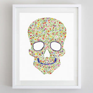 art print - skull floral watercolor print - carly rae studio