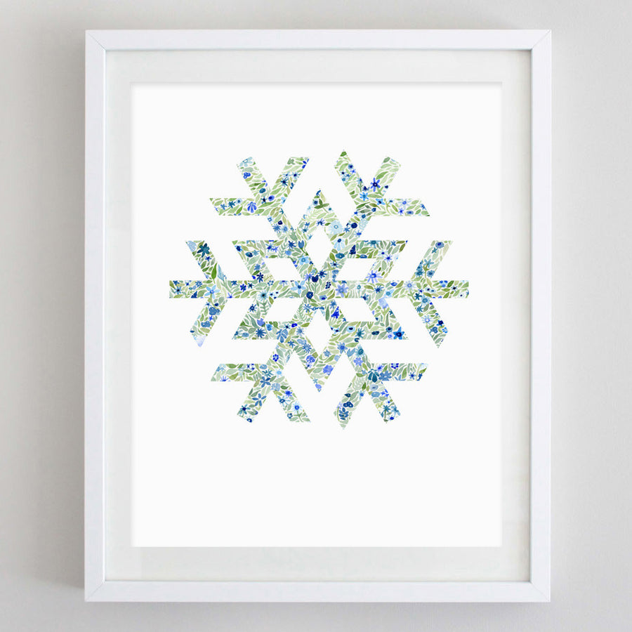 art print - snowflake floral watercolor print - carly rae studio