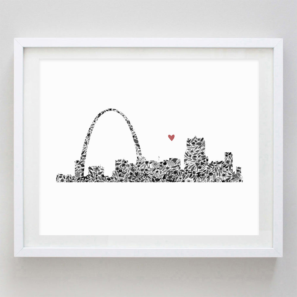 St Louis Skyline Floral Watercolor Print
