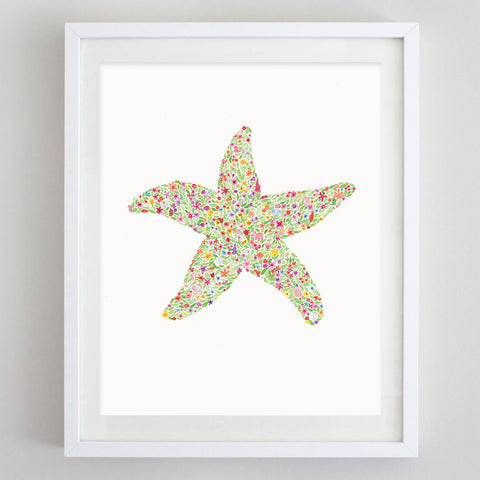 art print - starfish floral watercolor print - carly rae studio