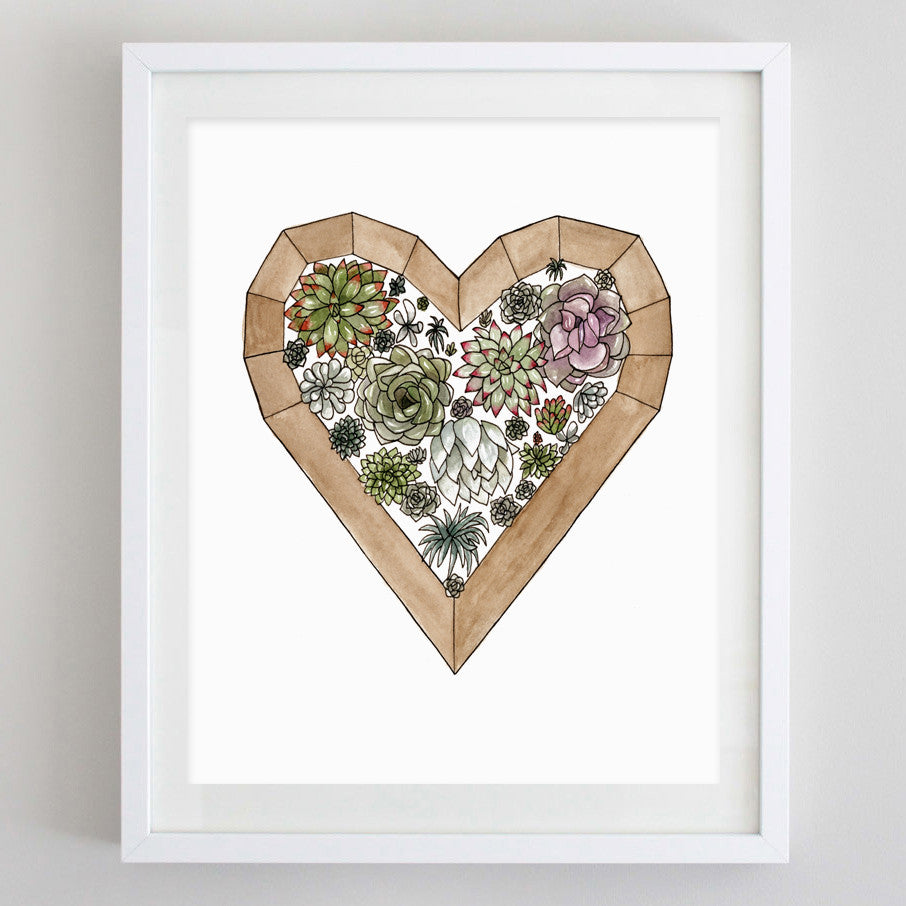art print - succulent heart watercolor print - carly rae studio