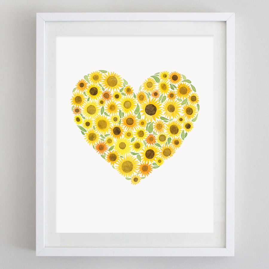 Sunflower Heart Floral Watercolor Print